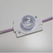 Модуль светодиодный 1SMD 3030, с линзой 15°х45°, 6500К, 12V, 1,3W, IP65